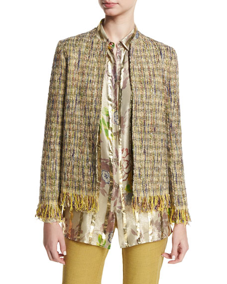 Etro Reversible Tweed Fringe Jacket, Green