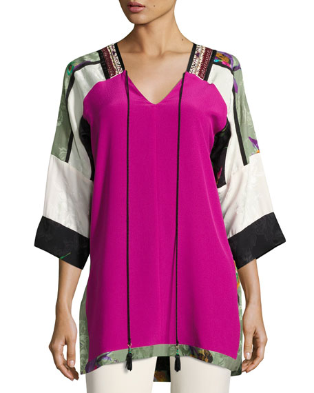 Colorblock Silk Tunic Top, Fuchsia