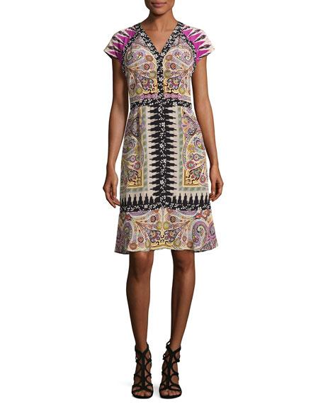 Etro Paisley Floral-Trim V-Neck Flounce Dress, Fuchsia