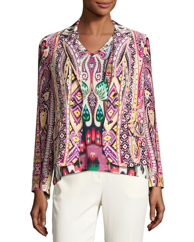 Batik Two-Button Short Blazer, Fuchsia/Black