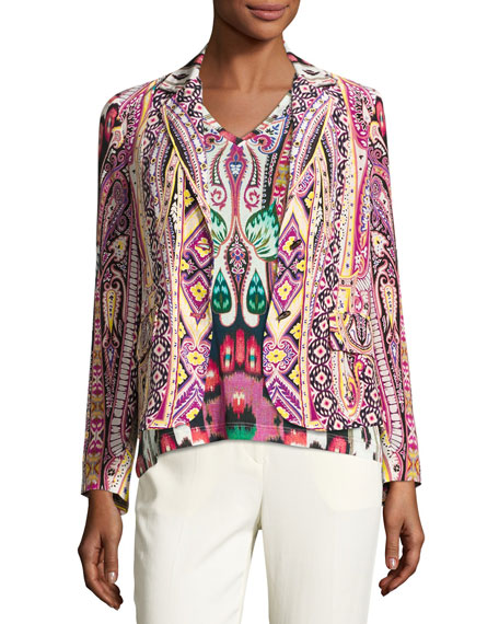 Etro Batik Two-Button Short Blazer, Fuchsia/Black