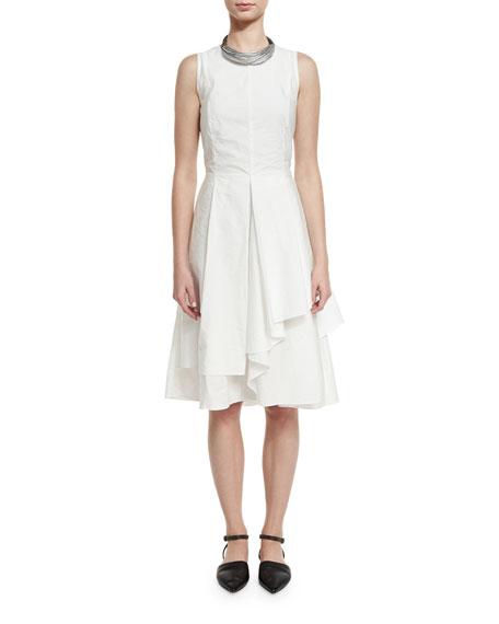 Brunello Cucinelli Sleeveless Tiered-Skirt A-Line Dress
