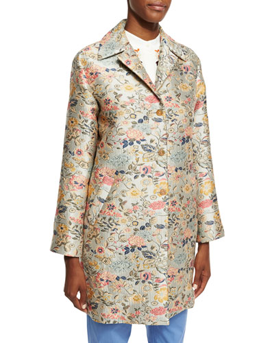 Floral-Jacquard Single-Breasted Coat, Light Blue/Silver/Green/Peach