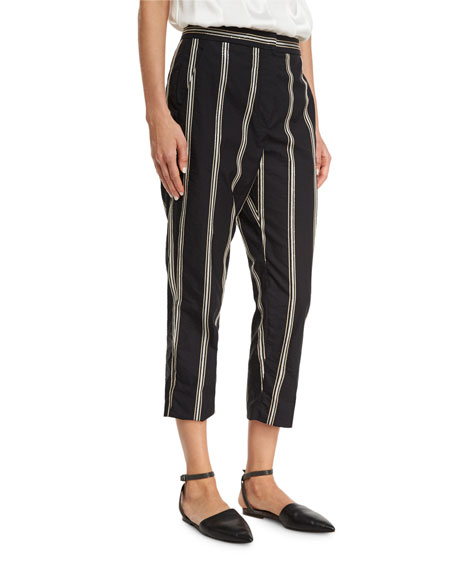 Brunello Cucinelli Two-Tone Paillette-Stripe Cropped Pants, Black