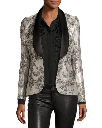Metallic Jacquard Tuxedo Jacket, Silver