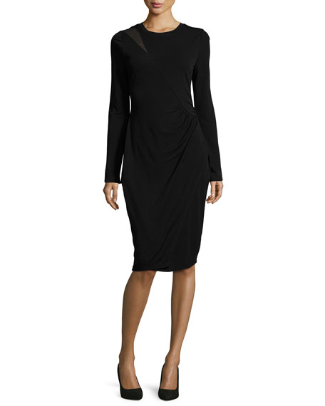 Tahari black dress long sleeve