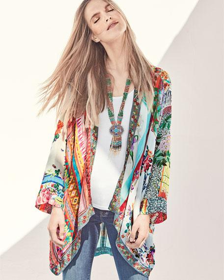 Johnny Was Scarf-Print Georgette Kimono Jacket