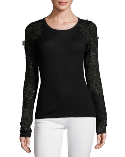 Elm Floral-Applique Merino Sweater, Black