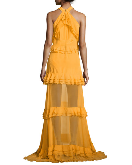 Sleeveless Halter Tiered Gown, Marigold