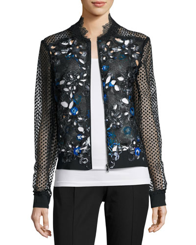 Brandy Lace-Sleeve Floral-Cutout Moto Jacket, Bluette