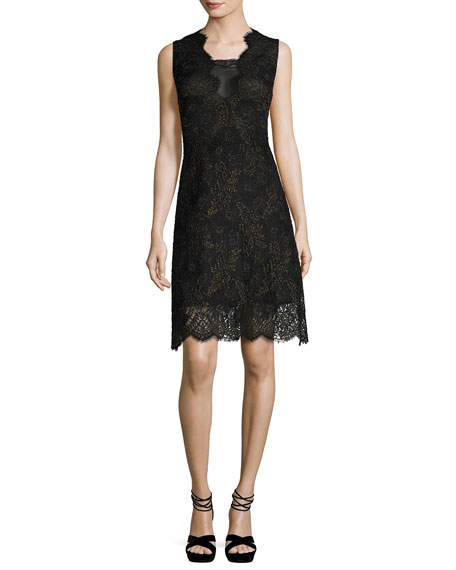 Elie Tahari Anne Sleeveless A-Line Lace Dress, Black