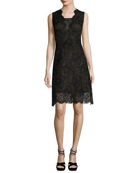 Anne Sleeveless A-Line Lace Dress, Black