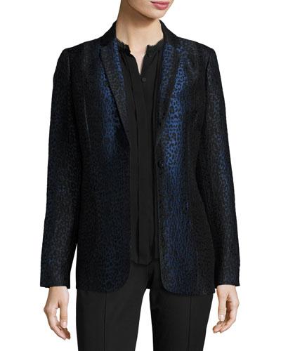 Katlyn Leopard-Print One-Button Blazer, Black