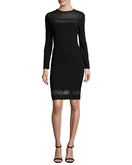 Elie Tahari Candice Long-Sleeve Lace-Trimmed Sheath Dress, Black