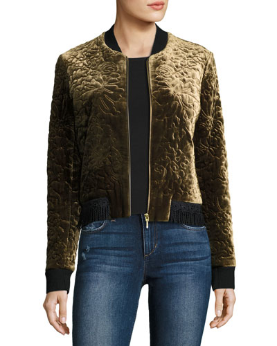Brandy Quilted Velvet Bomber Jacket