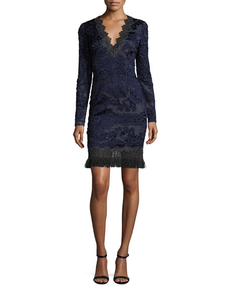 Elie Tahari Camden Long-Sleeve Lace Dress w/ Fringe