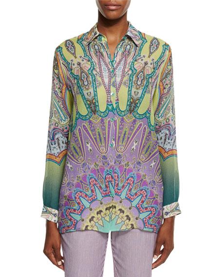 Long-Sleeve Printed Silk Tunic, Green/Lilac
