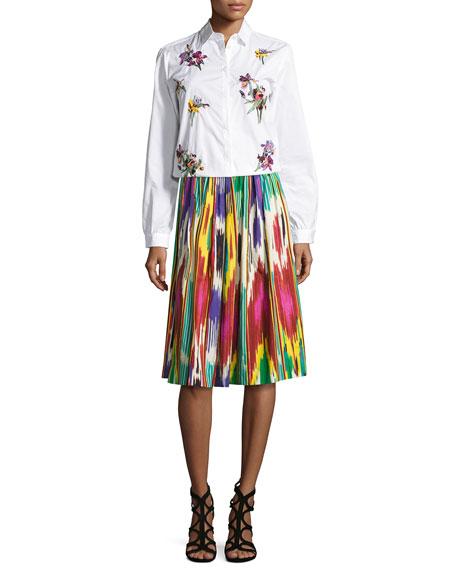 Etro Ikat-Print Pleated A-Line Skirt, Green