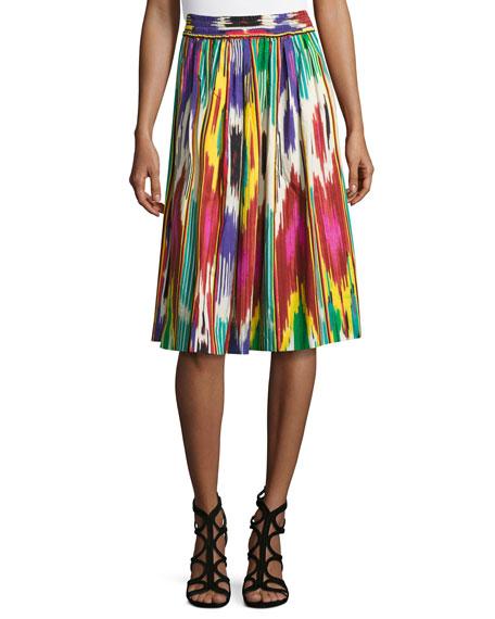 Ikat-Print Pleated A-Line Skirt, Green