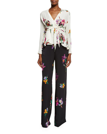 High-Rise Floral Wide-Leg Pants, Black/Multi