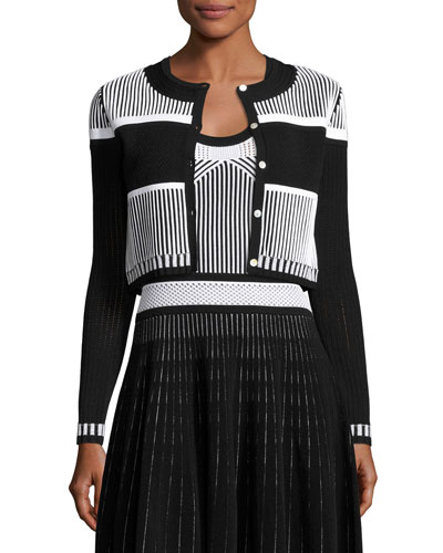 Striped Cropped Cardigan, Black/White
