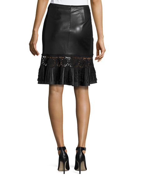 Dallas Crochet-Trim Leather Skirt, Black