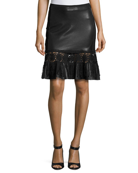 Elie Tahari Dallas Crochet-Trim Leather Skirt, Black