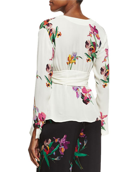 Floral Tie-Front Blouse, Ivory