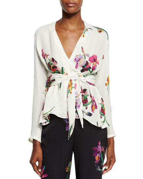 Etro Floral Tie-Front Blouse, Ivory