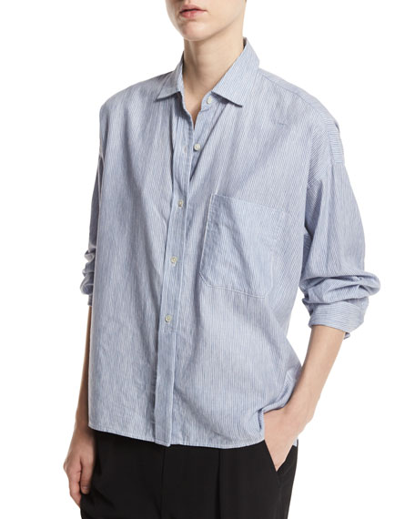 Vince Striped Cropped Oxford Shirt