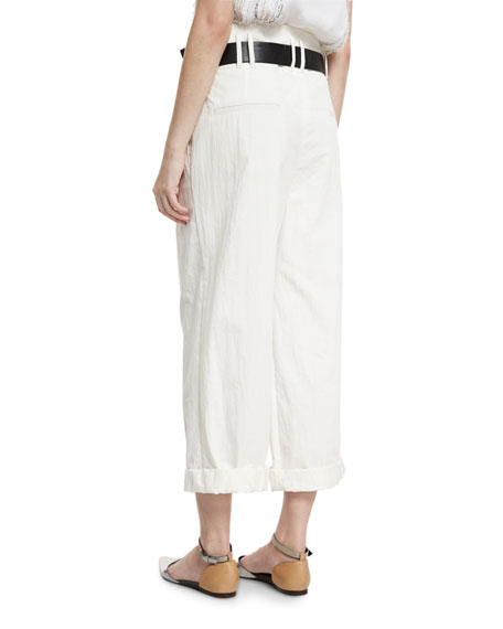 Lightweight Wide-Leg Cropped Pants, White