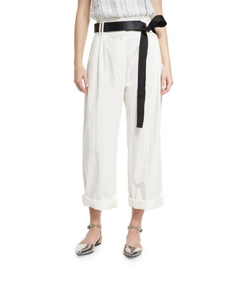 Brunello Cucinelli Lightweight Wide-Leg Cropped Pants, White