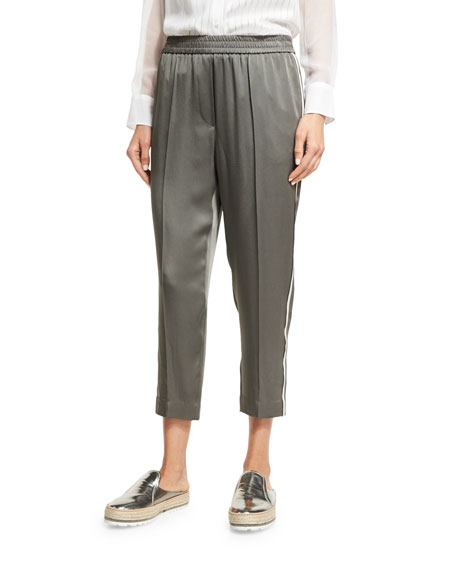 Brunello Cucinelli Satin Pull-On Ankle Pants, Olive