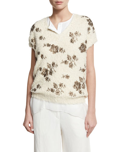 Metallic-Floral Short-Sleeve Sweater, Ivory