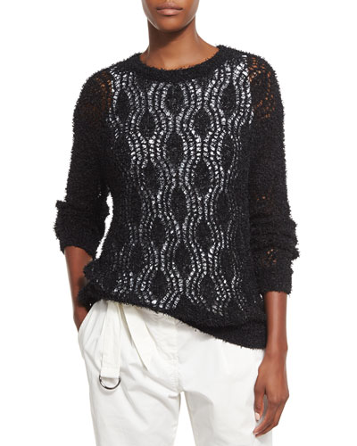 Open-Knit Sweater w/Silk Tank Underlay