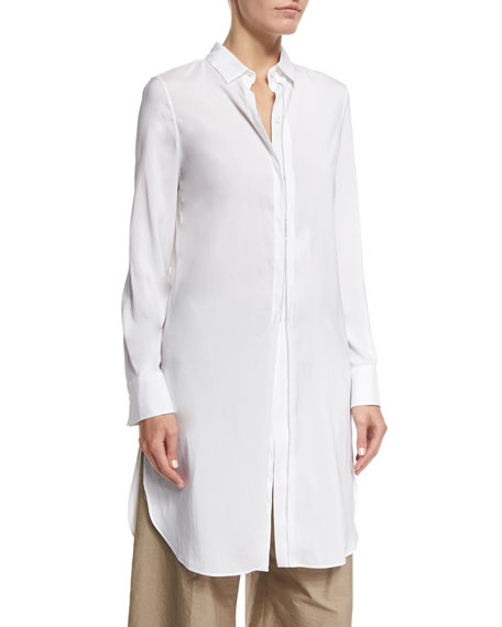 Brunello Cucinelli Monili-Trim Side-Slit Long Tunic, White