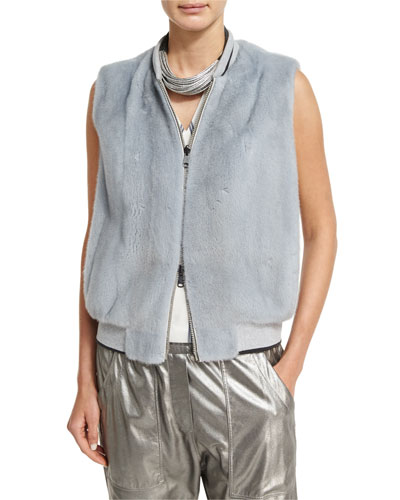 Reversible Mink & Leather Bomber Vest, Light Blue