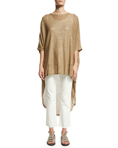 Paillette-Embellished Knit High-Low Poncho Best Reviews