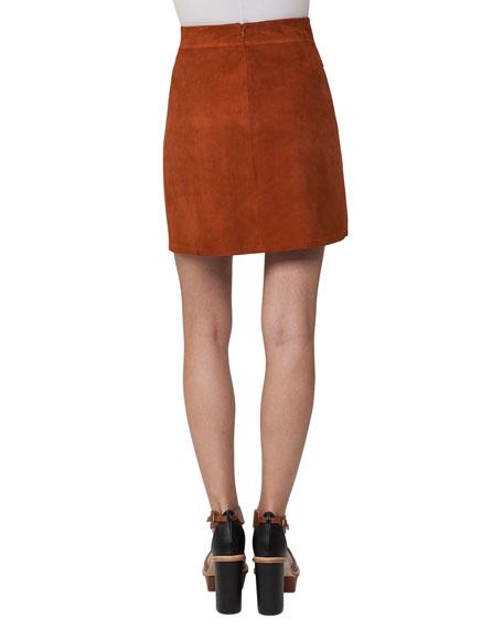 Pleated Suede Mini Skirt, Marron