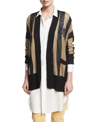 Sequined Collegiate-Stripe Cardigan, Multi