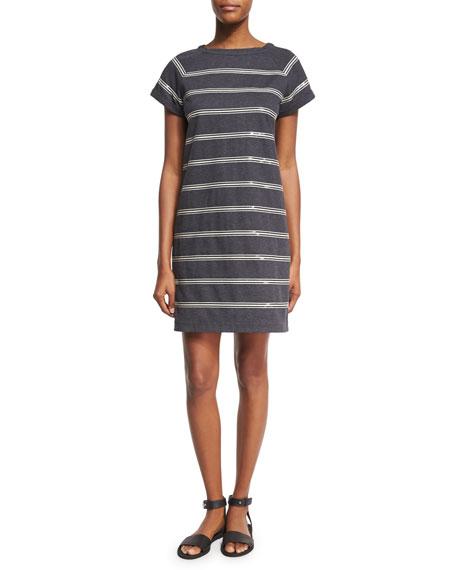 Brunello Cucinelli Felpa Crewneck Striped Dress, Gray