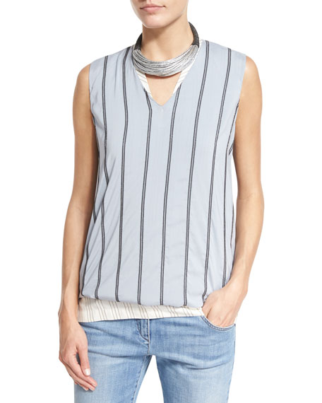 Brunello Cucinelli Monili-Striped Silk V-Neck Top, Light Blue
