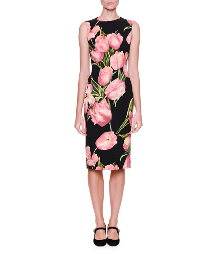 Sleeveless Tulip-Print Dress, Black/Rose Pink