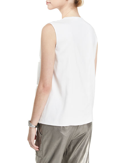 Ripple-Front Sequined V-Neck Top, White