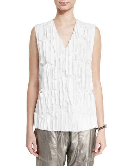 Brunello Cucinelli Ripple-Front Sequined V-Neck Top, White