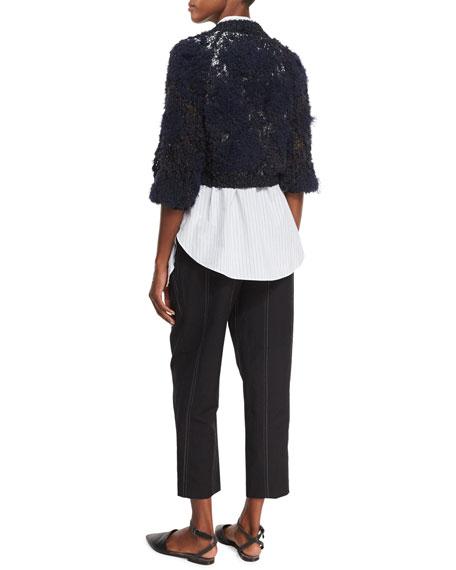 Intarsia Cropped Zip-Front Cardigan