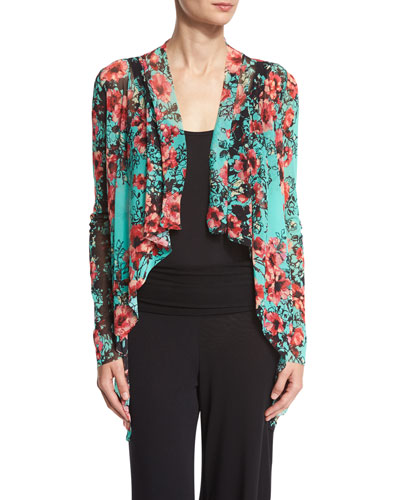 Floral-Print Cascading Open Cardigan, Multi Compare Price