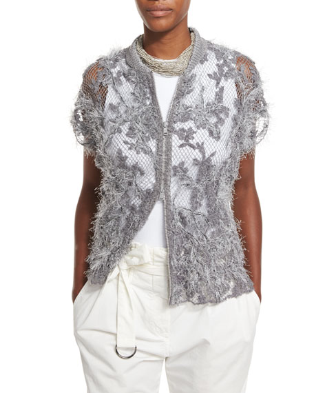 Brunello Cucinelli Embroidered Lace Zip Cardigan, Gray