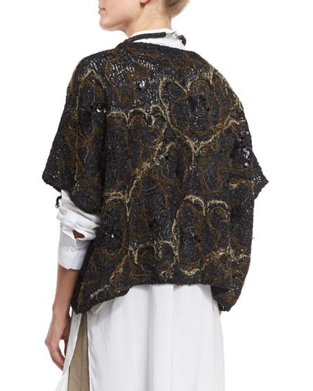 Embroidered Oversized Short-Sleeve Sweater, Black