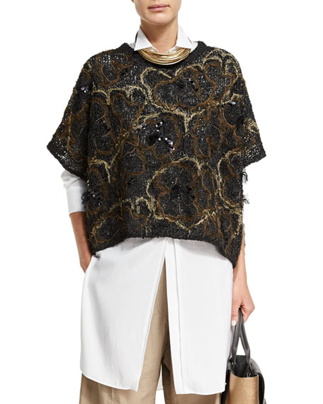 Embroidered Oversized Short-Sleeve Sweater, Black